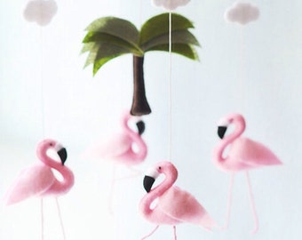 Pink Flamingo Nursery Baby Mobile, Baby Girl Nursery Decor, Wool Felt, Safari Flamingo Birthday Party Baby Shower Gift