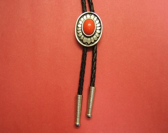 On Sale! Free Shipping*! Bolo Ties, Bolos, Indian, Bolo Tie, Bolo Tie For Men, Western Jewelry, Wedding Ties, pewter, coral, #1084B-10C