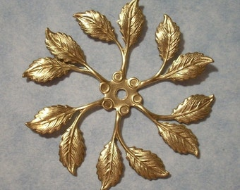 2 Raw Brass Leaf Stampings 48mm Stackable Leaf Pendant Brass Stampings