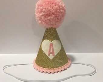 Pink and Gold Heart Party Hat 1st Birthday Pink and Gold Party Hat Heart Party Hat 2nd Birthday Hat 3rd Birthday Hat Pale Pink and Gold Them