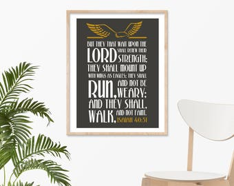 "ISAIAH 40:31 Wall - 8""x 10"" Print, Bible Verse, Christian Wall Art Decor, Inspirational Scripture Art, Bible Verse, Running Print."