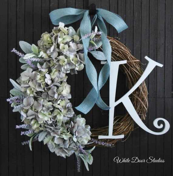 Personalized Spring and Summer Hydrangea Front Door Wreath