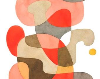 Milieu du siècle moderne abstrait art print affiche «Ludique» Home décor design moderniste rose rouge marron gris beige 8 x 10