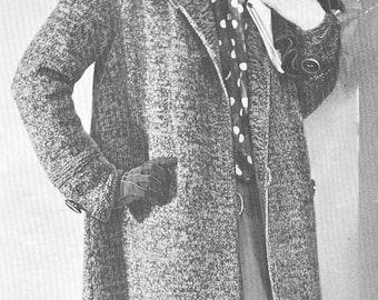 Vintage 1930s Swagger Coat Knitting Pattern PDF 3212