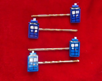 Dr Who TARDIS Hairgrips