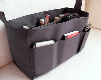 Medium Bag organizer - Purse organizer insert in Charcoal/Dark Gray fabric