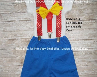 Circus Birthday outfit carnival cake smash bow tie Dot suspendersblue shorts invitation prop baby shower gift  9 12 18 24 toddler