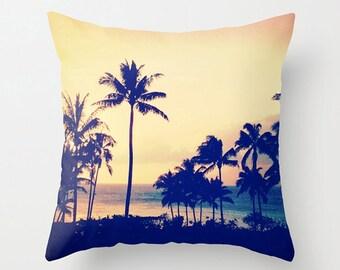 Tropical Palm Tree Pillow Case, Maui Sunset Cushion, Travel Decor Pillow, Wanderlust Cushion Decor, Beach House Throw Pillow 18x18 22x22
