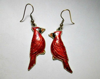 Cardinal Earrings - Bird Earrings - Red Bird - Handmade - 1990's