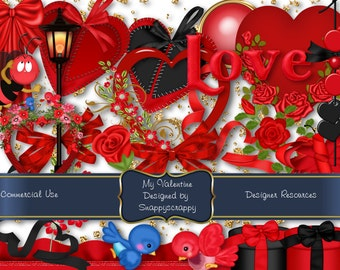Valentines Day Red and Black Digital Scrap Kit   Digital Scrapbooking Kit Commercial Use