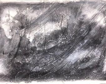 Grey Moons- Original Mixed Media- Woodland- 10x15.25- Abstract