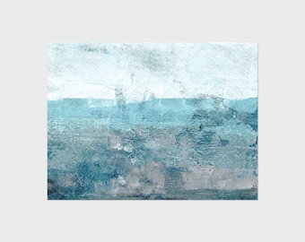 Turquoise/Aqua Blue Abstract Wall Art - Minimalist Seascape - Coastal Home Decor - Unframed Print on Paper