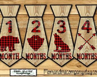 Monthly Baby Stickers Boy Stickers Baby boy Lumberjack Tie Stickers Baby Milestone Sticker Lumber jack Baby Necktie Baby shower gift precut