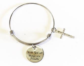 With God All Things Are Possible Cross Charm Expanding Bangle Bracelet, Girlfriend Gift for Her, Scripture Gift For Mom, Bible Verse Jewelry