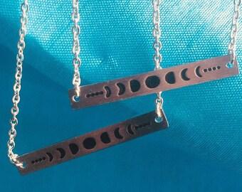 Moon Phase necklace and bracelet set