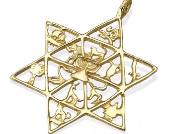 Twelve Tribes of Israel Star of David Pendant, 14k Gold Jewish Symbols Pendant, Tribes of Israel Symbols Pendant, 14k Gold Star of David