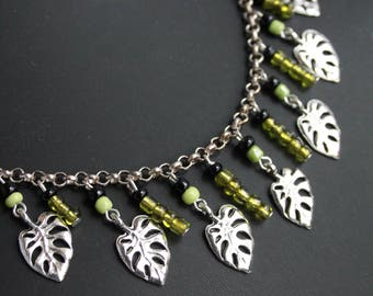 Set necklace earrings palmleaves, Collectif Dolores Green Tahiti Palm print inspired, rockabilly, bohemian style, pinupjewelry, green leaf