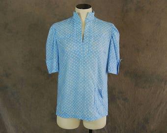 Clearance SALE vintage 60s Blouse - 1960s Blue Calico Shirt Tunic Sz M