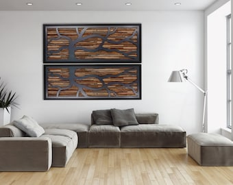 Wood wall art, made of old reclaimed barnwood with a wind swept steel tree. Different Sizes Available, Large wall art, wood wall sculpture