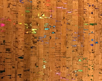 Cork Fabric - Natural Metallic Rainbow Cork - cork and cloth - Cork