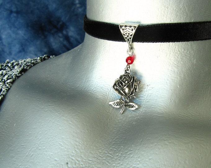 Stemmed Silver Rose Pendant Ribbon Choker Necklace - Customizable
