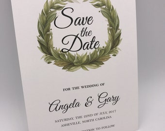 Printed, Save the Date Cards, Laurel Wreath, 5x7, Commercial Press, Premium Quality and Still Affordable!