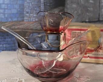 Rubin Rot Matt Chip N Dip Salatschüssel set mit kleinen Schüssel hält Rack Löffel Gabel Indiana Glass Co.