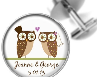 Owl Couple Personalized Bride and Groom Cufflinks For Weddings Anniversaries Special Occasions Grooms Groomsmen
