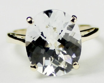 Silver Topaz, 18Ky Gold Ring, R055