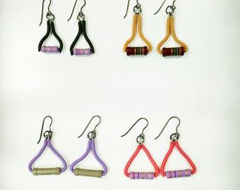 long earrings, colourfull earrings, geek electronic earrings, geek earrings, resistor earrings, vegan earrings, geek gift, computer parts,