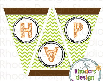Retro Camper Birthday Triangle Banner Party Decoration Instant Download Chevron Printable Digital