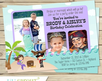 Pirate Mermaid Double Birthday Invitation - Twin or Sibling Birthday Invitation- Shared Birthday Party- Print Your Own Invites