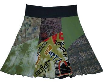 Upcycled Skirt Women's Large XL Hippie Skirt Size 10 12 14 Boho recycled repurposed namaste hippie wear Twinkle Skirts Twinklewear