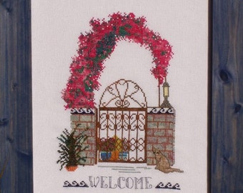 """Cross Stitch Instant Download Pattern """"Island Gateways 2"""" Counted Embroidery Chart. X Stitch. Floral Arbor, Iron Gate Design. Welcome."""