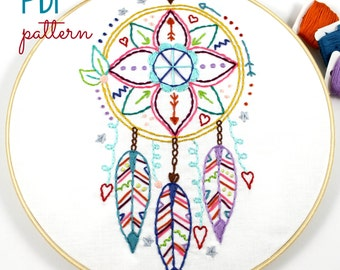 Dreamcatcher Embroidery Designs. Hand Embroidery. PDF Pattern. Digital Pattern. Western. Feathers. Boho Hippy. Embroidery Hoop Art. Colorful