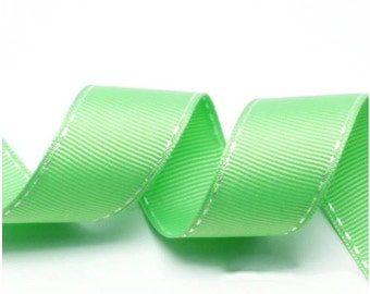 5Yards Cabbage Green/White Grosgrain Stitch Ribbon - 5mm(2/8''), 10mm(3/8''), 15mm(5/8''), and 25mm(1'')