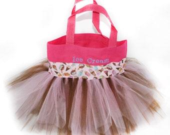 Ice Cream Tote Bag, Ice Cream Tutu Bag, Personalized Girl Dance Bag, Tutu Ballet Bag, Ice Cream Party Favors Bag, Ice Cream Gift Bag