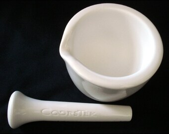 COORSTEK Mortar and Pestle - Laboratory, Pharmacy, Medical, Labware Porcelain - 60316 and 60314