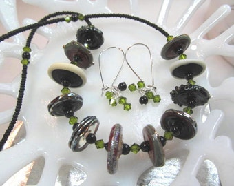 Necklace & Earrings olive green black glass lampwork beads with crystals