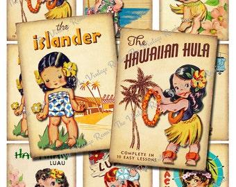 INSTANT DOWNLOAD, Vintage Hula Girls, Digital Collage Sheet, Retro ATC Printables
