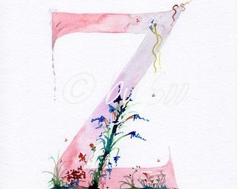 Letter Z Watercolour Monogram Print