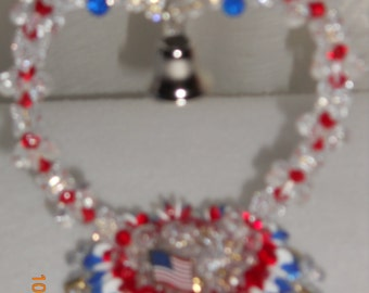 Beaded Patriotic Heart w/ Bell and Flag.