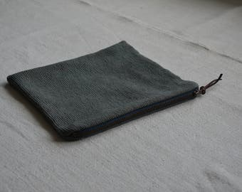 Blue grey zip pouch woven purse natural ethical sustainable boho bohemian minimalist cosmetics toiletries travel phone eco wallet festival