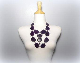 Eggplant Purple Eco Friendly Tagua Nut Necklace Bib with Free USA Shipping #taguanut #ecofriendlyjewelry