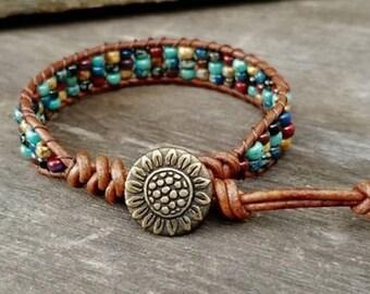 Beaded Leather Wrap Bracelets for Women Leather Boho Bracelet Boho Jewelry Leather Beaded Wrap Bracelet Seed Bead Bracelet