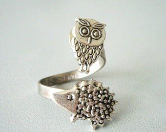 Owl and hedgehog ring, adjustable ring, animal ring, silver ring, statement ring