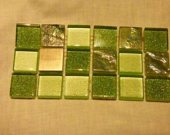 ASSORTMENT OF 18 GREEN MOSAIC TILES
