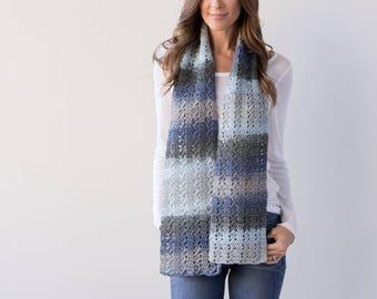 Crochet Pattern-- Slanting Squares Scarf --Crochet Pattern