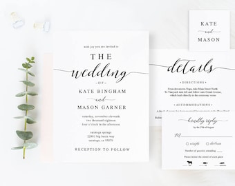 Printable Wedding Invitation Template, Wedding Invitation Set, DIY Wedding Cards, Download, Modern Calligraphy, Rustic Wedding #SPP007iiwis