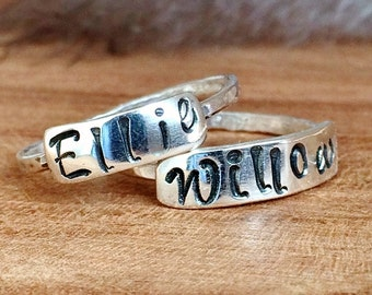 Stackable Name Rings - Sterling Silver - Name Rings - Personalized Ring for women - Ring for Mom and Wife